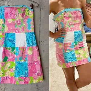 Vintage Lilly Pulitzer patchwork strapless dress